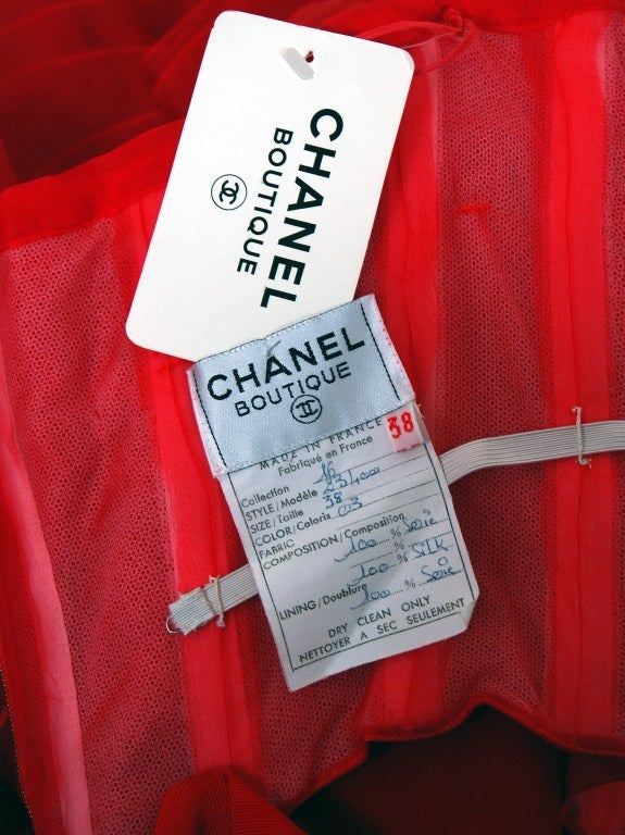 1980's Chanel Strapless Red-Silk Gold-Chains Ruffle Party Dress 6