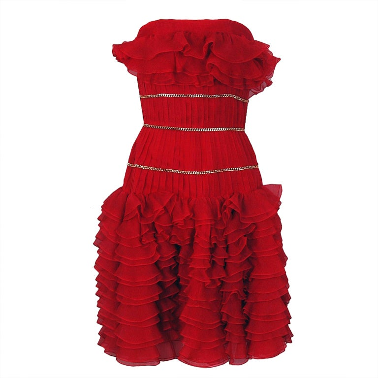 1980's Chanel Strapless Red-Silk Gold-Chains Ruffle Party Dress 1