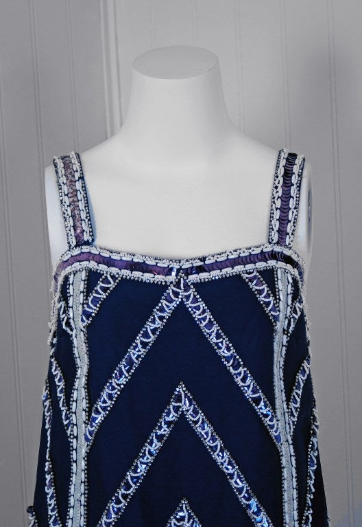 Women's 1960's Mr. Blackwell Navy-Blue Beaded Silk Flapper Mini Dress For Sale