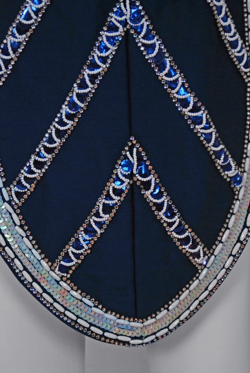 1960's Mr. Blackwell Navy-Blue Beaded Silk Flapper Mini Dress For Sale 1