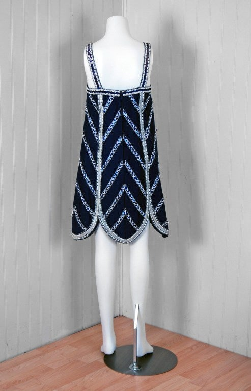 1960's Mr. Blackwell Navy-Blue Beaded Silk Flapper Mini Dress For Sale 3