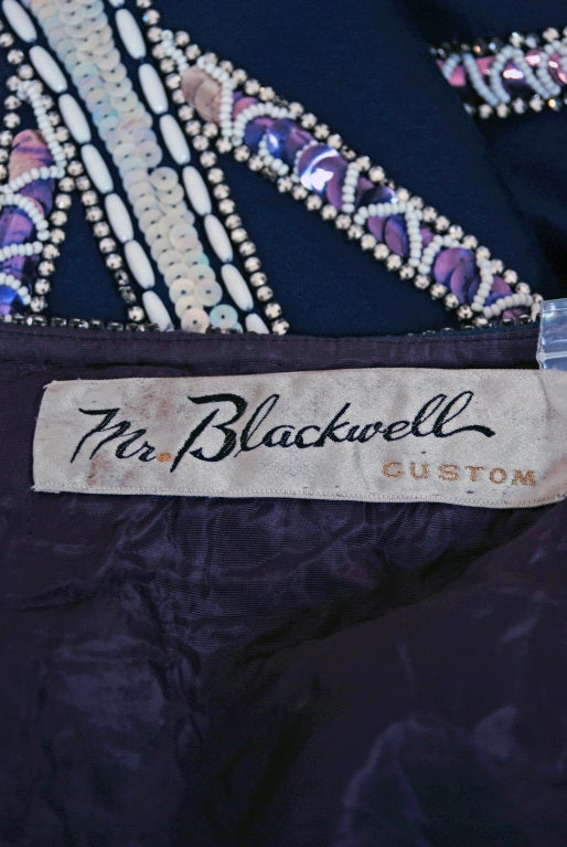 1960's Mr. Blackwell Navy-Blue Beaded Silk Flapper Mini Dress For Sale 4