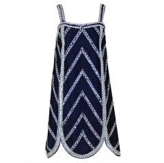 1960's Mr. Blackwell Navy-Blue Beaded Silk Flapper Mini Dress