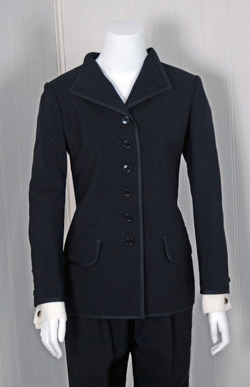 1967 Yves Saint Laurent Le Smoking Tuxedo Black Pants Jacket Suit Ensemble In Excellent Condition For Sale In Beverly Hills, CA