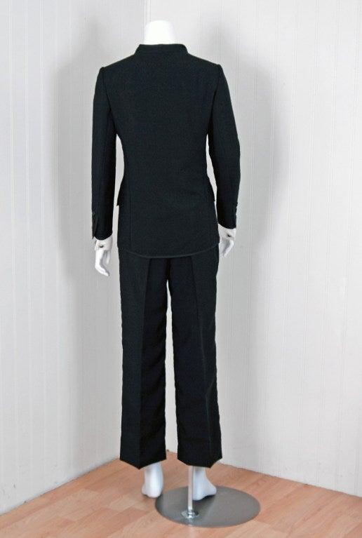 1967 Yves Saint Laurent Le Smoking Tuxedo Black Pants Jacket Suit Ensemble 5