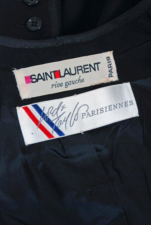 1967 Yves Saint Laurent Le Smoking Tuxedo Black Pants Jacket Suit Ensemble 6