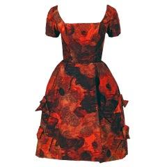 1960's Michael Novarese Orange Roses Rare Silk Full Party Dress