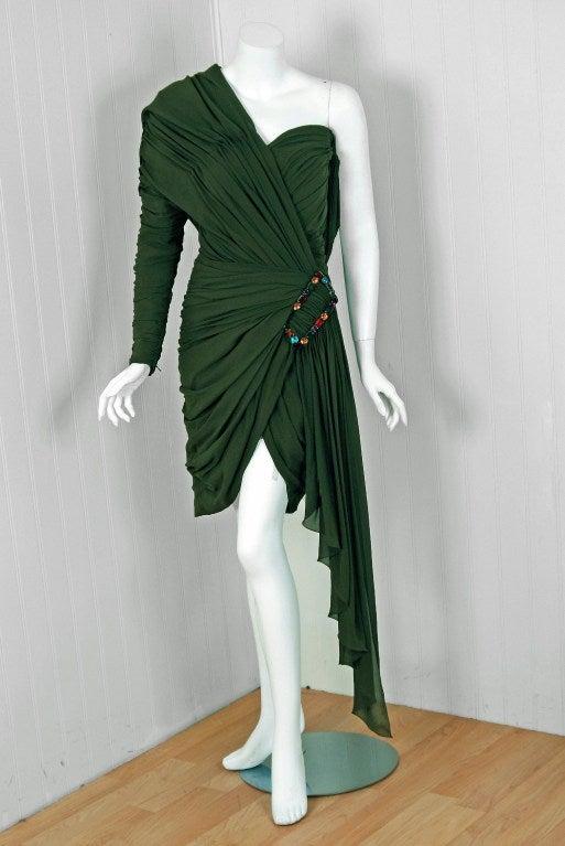 1985 Jean Patou Haute-Couture Rare Green Silk Asymmetric Cocktail Dress 2