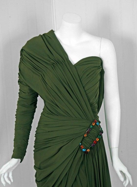 1985 Jean Patou Haute-Couture Rare Green Silk Asymmetric Cocktail Dress 3