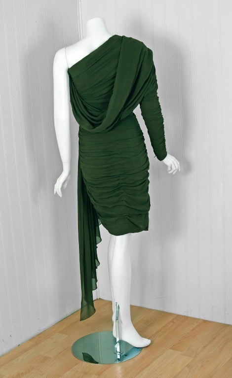 1985 Jean Patou Haute-Couture Rare Green Silk Asymmetric Cocktail Dress 5