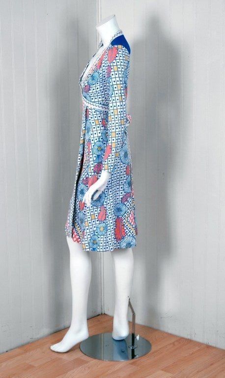 Women's 1974 Ossie Clark Colorful Celia Birtwell Print Cotton Low-Plunge Wrap Dress For Sale