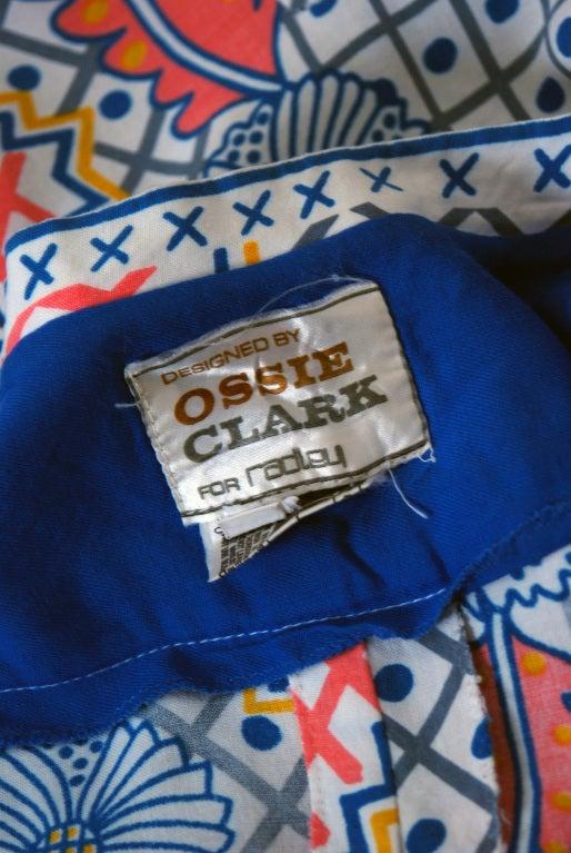 1974 Ossie Clark Colorful Celia Birtwell Print Cotton Low-Plunge Wrap Dress For Sale 2