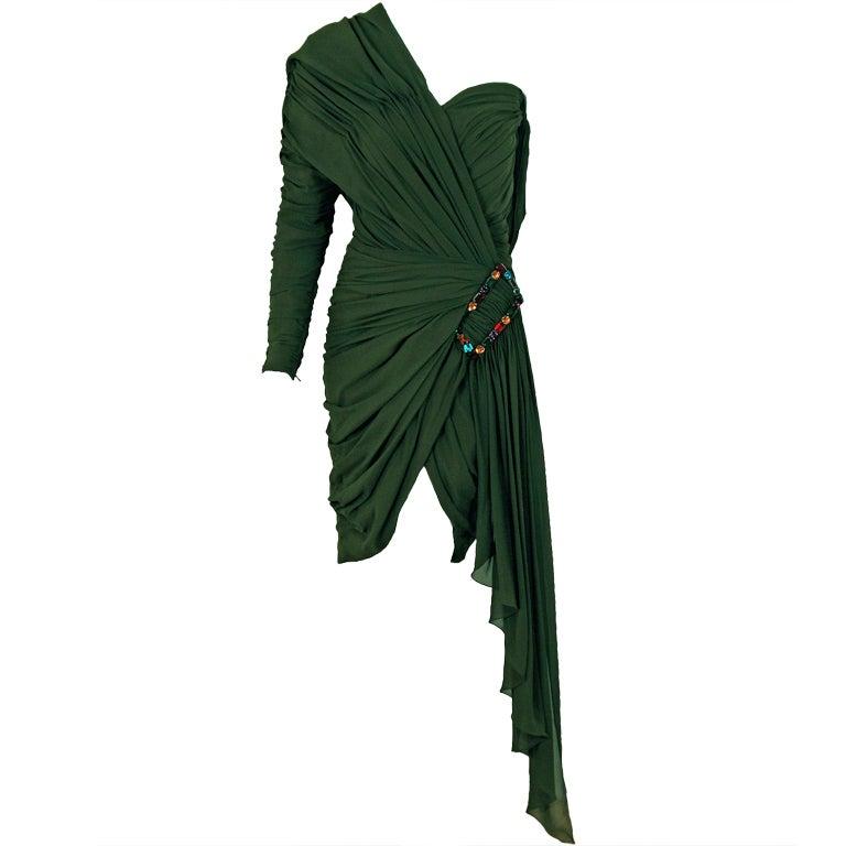 1985 Jean Patou Haute-Couture Rare Green Silk Asymmetric Cocktail Dress 1