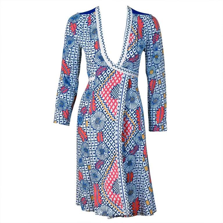 1970's Ossie Clark Colorful Celia Birtwell Print Cotton Low-Plunge Wrap Dress