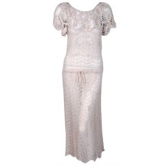 1970's Oscar de la Renta Creme Crochet-Lace Knit Sheer Dress