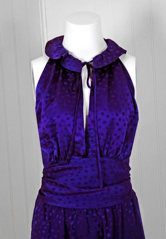 1970's Halston Royal-Purple Silk Backless Halter Blouse & Pants Jumpsuit In Excellent Condition For Sale In Beverly Hills, CA