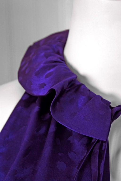 Women's 1970's Halston Royal-Purple Silk Backless Halter Blouse & Pants Jumpsuit For Sale