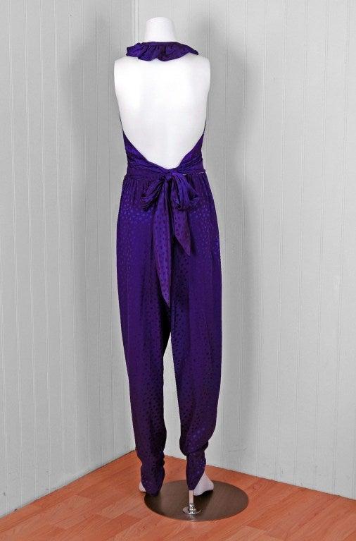 1970's Halston Royal-Purple Silk Backless Halter Blouse & Pants Jumpsuit For Sale 1