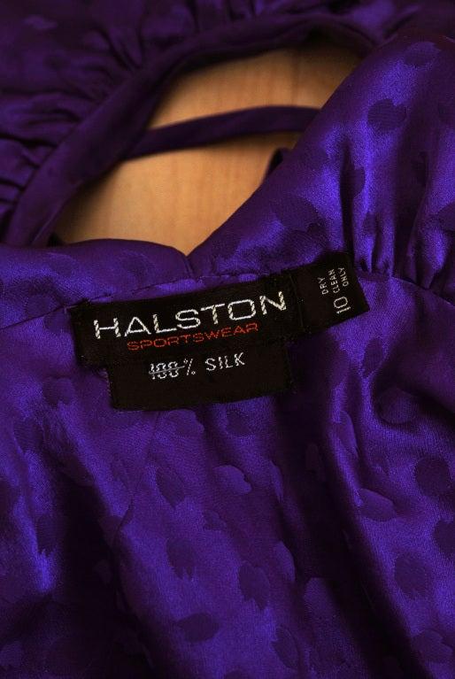 1970's Halston Royal-Purple Silk Backless Halter Blouse & Pants Jumpsuit For Sale 2