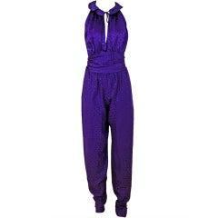 1970's Halston Royal-Purple Silk Backless Halter Blouse & Pants Jumpsuit