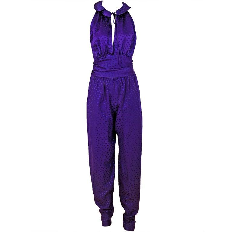 1970's Halston Royal-Purple Silk Backless Halter Blouse & Pants Jumpsuit For Sale