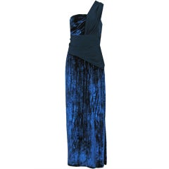 1970's Gres Asymmetric One-Shoulder Navy Velvet Grecian Goddess Evening Gown
