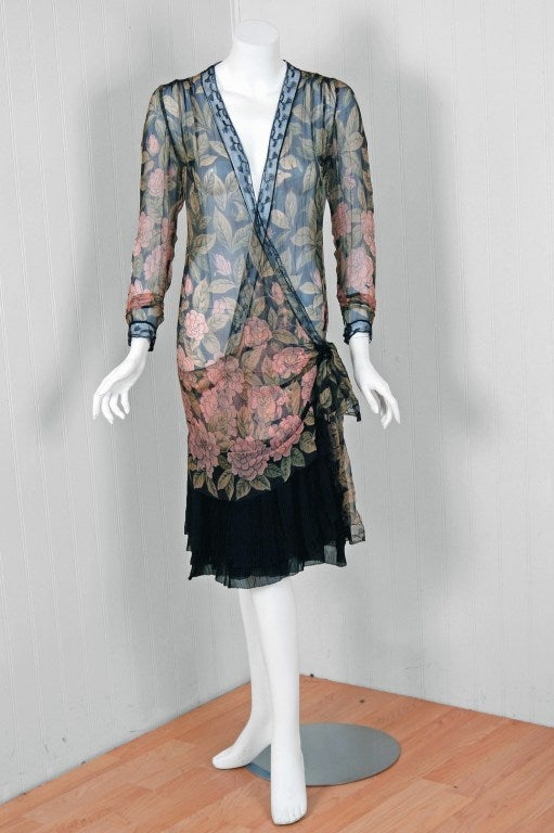 1920 S Pink Camellias Floral Print Chiffon Wrap Dress And