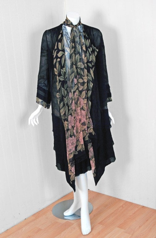 Gray 1920's Pink-Camellias Floral Print Chiffon Wrap Dress & Matching Flapper Coat For Sale