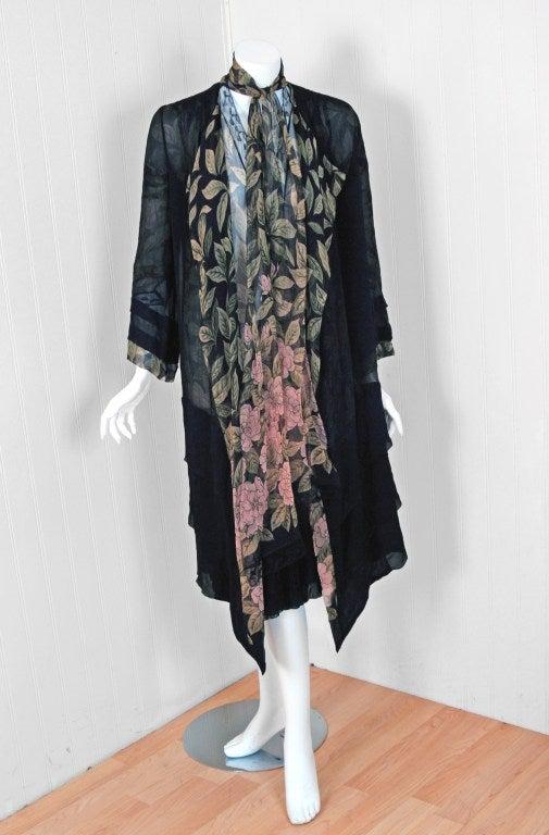 1920's Pink-Camellias Floral Print Chiffon Wrap Dress & Matching Flapper Coat 3
