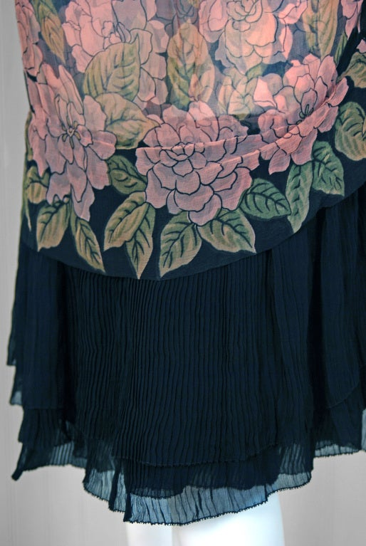 1920's Pink-Camellias Floral Print Chiffon Wrap Dress & Matching Flapper Coat In Excellent Condition For Sale In Beverly Hills, CA
