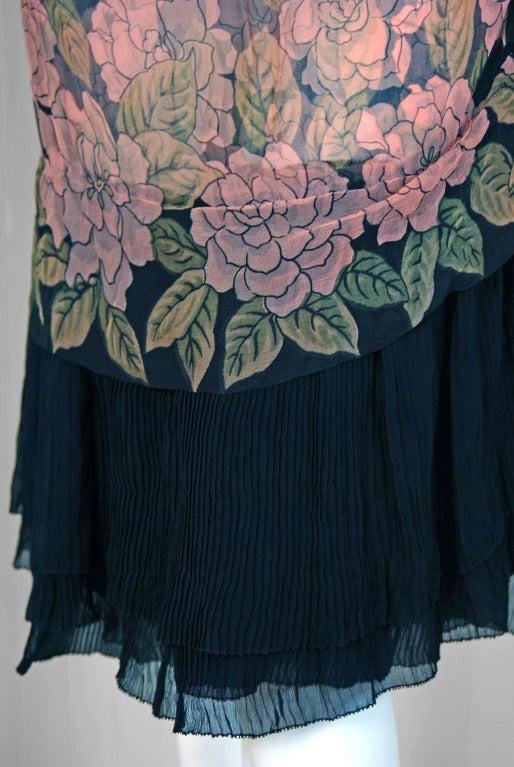 1920's Pink-Camellias Floral Print Chiffon Wrap Dress & Matching Flapper Coat 4