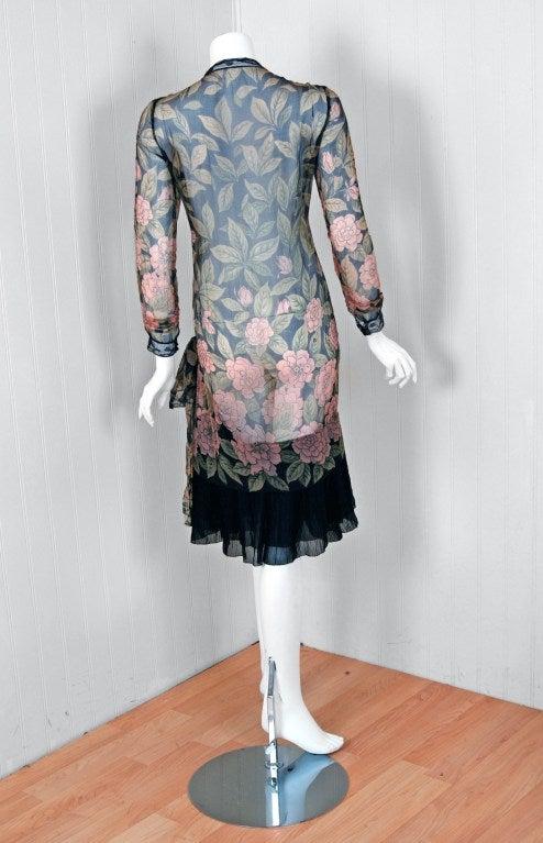 1920's Pink-Camellias Floral Print Chiffon Wrap Dress & Matching Flapper Coat For Sale 1