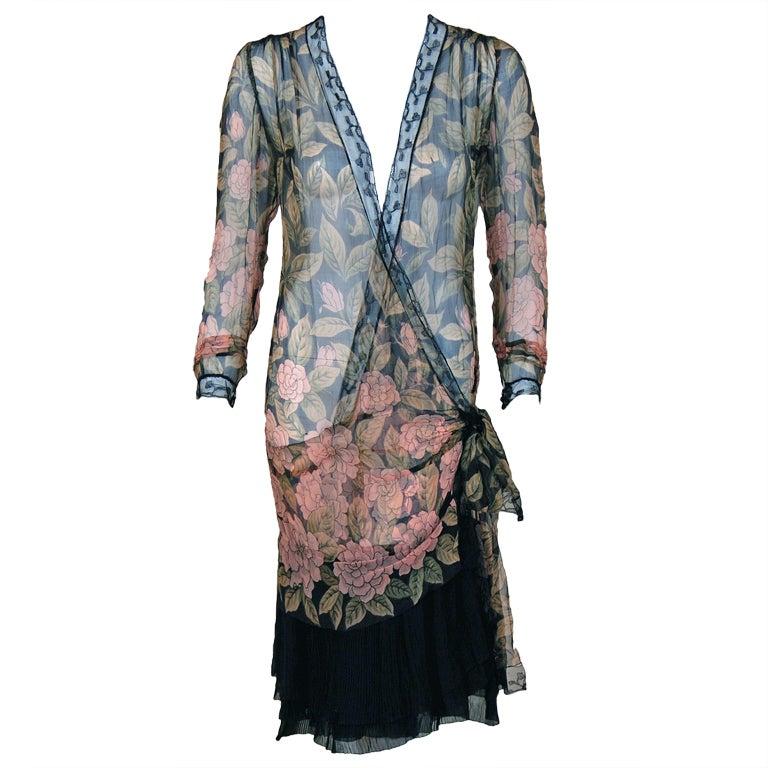 1920's Pink-Camellias Floral Print Chiffon Wrap Dress & Matching Flapper Coat For Sale