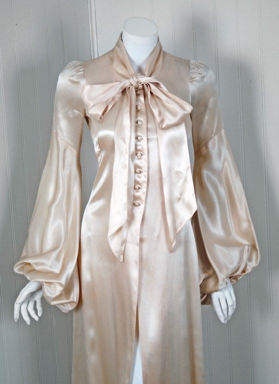 1970 S Biba Ivory Satin Ascot Bow Billow Sleeves Dress