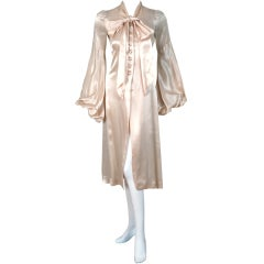 1970's Biba Ivory Satin Ascot Bow Billow-Sleeves Dress Jacket