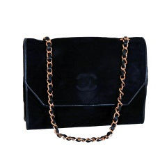 1990's Chanel Chic Black Quilted Suede-Leather Flap Bag Purse