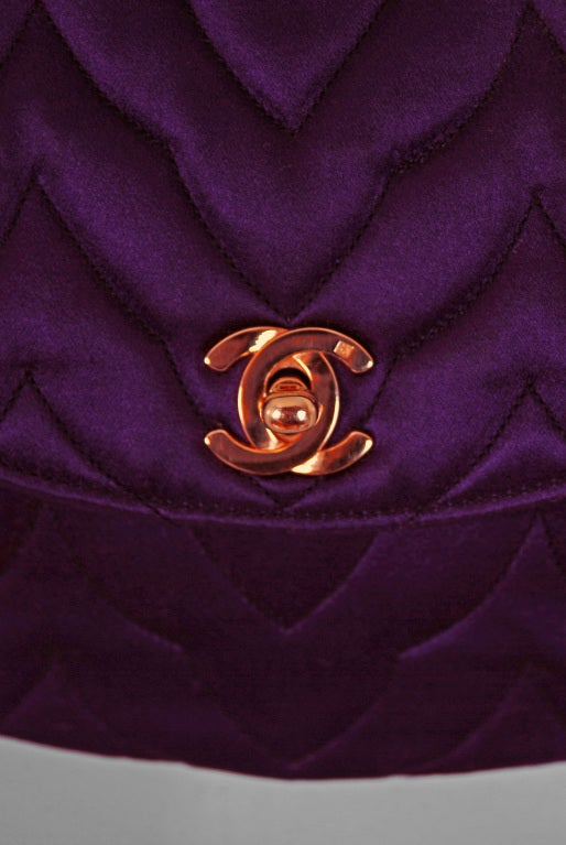 1990's Chanel Royal-Purple Satin Quilted Evening Flap Bag Purse 2