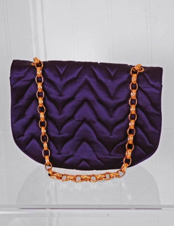 1990's Chanel Royal-Purple Satin Quilted Evening Flap Bag Purse 3