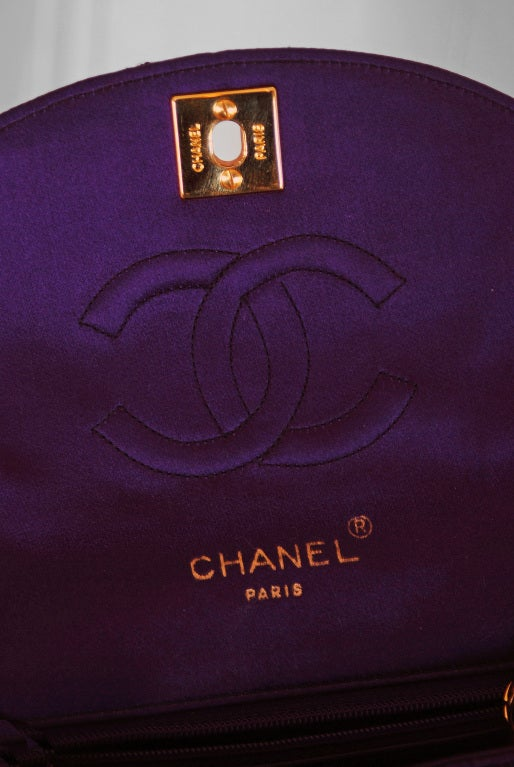 1990's Chanel Royal-Purple Satin Quilted Evening Flap Bag Purse 4