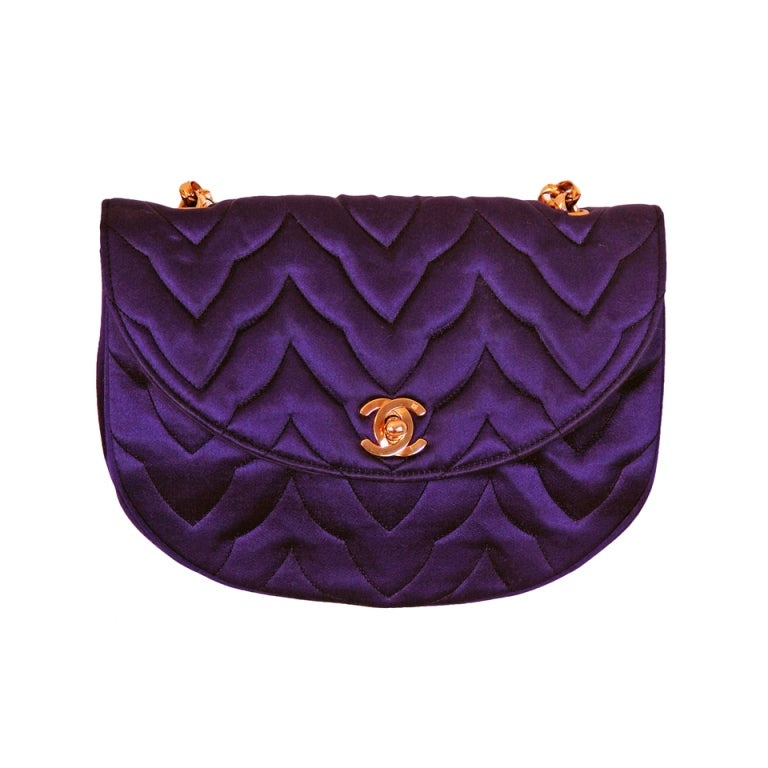 1990's Chanel Royal-Purple Satin Quilted Evening Flap Bag Purse 1