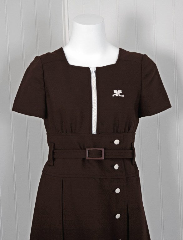 1967 Courreges Numbered Couture Brown Silk Mod Belted Space-Age Dress 2