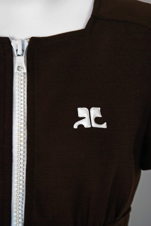 Black 1967 Courreges Numbered Couture Brown Silk Mod Belted Space-Age Dress For Sale