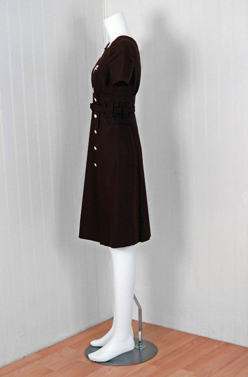 1967 Courreges Numbered Couture Brown Silk Mod Belted Space-Age Dress 4