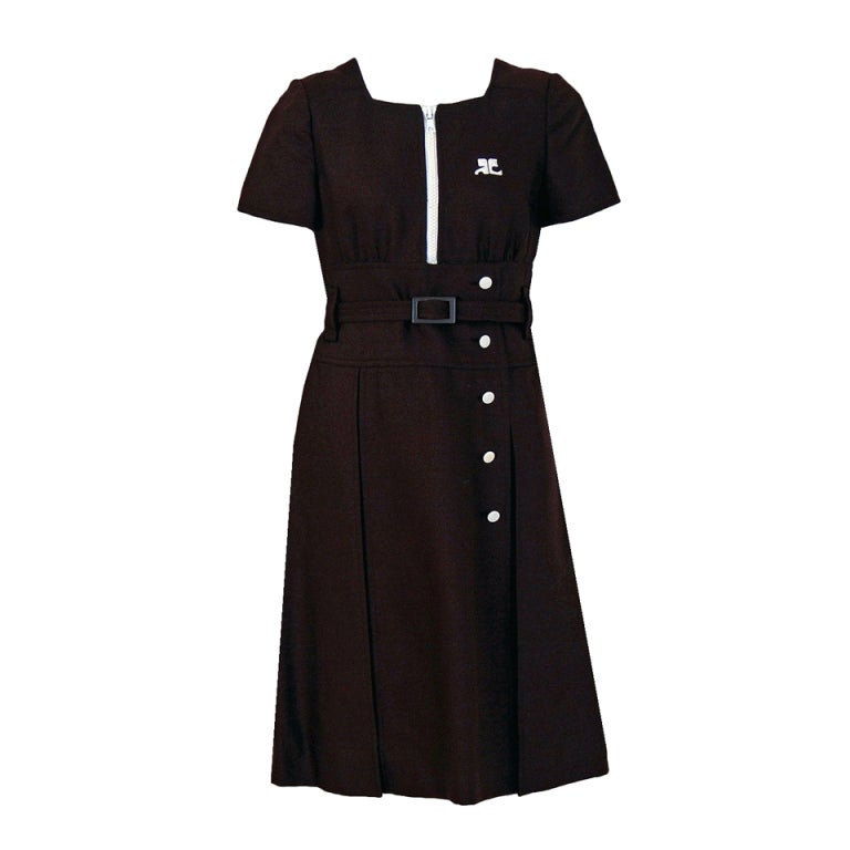 1967 Courreges Numbered Couture Brown Silk Mod Belted Space-Age Dress