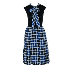 1960's Mr. Blackwell Polka-Dot Print Cotton Ascot-Bow Dress Set