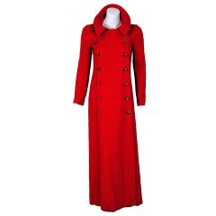 1970's Biba Red Linen Sailor Double-Breasted Maxi Coat Jacket