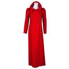 1970's Biba Red Linen Sailor Double-Breasted Maxi Coat Jacket