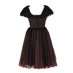 1959 Black-Lace & Brown-Tulle Party Dress Derivation of Dior
