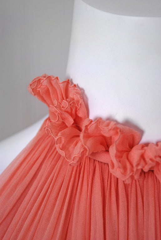 1970's Bob Mackie Pink Pleated Silk-Chiffon Goddess Backless Maxi Gown 3