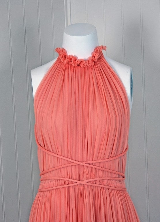 1970's Bob Mackie Pink Pleated Silk-Chiffon Goddess Backless Maxi Gown 2